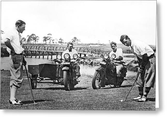 Motorcycle Sidecar Greeting Cards - Motorcycles Set Golf Record Greeting Card by Underwood Archives