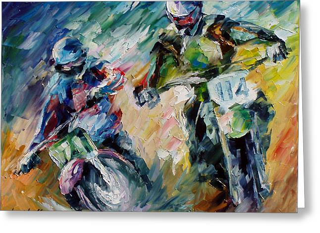 Impressionist Greeting Cards - Motorcycling - PALETTE KNIFE Oil Painting On Canvas By Leonid Afremov Greeting Card by Leonid Afremov