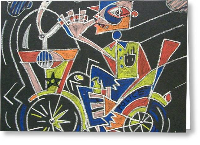 Police Art Drawings Greeting Cards - Motorcyclist with a Beer Greeting Card by E Dan Barker