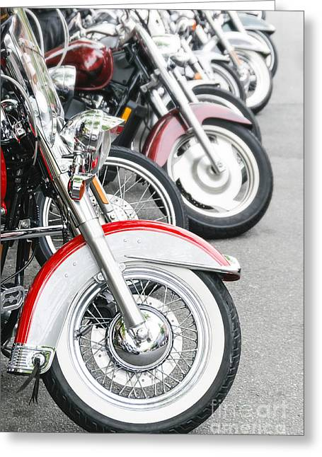 Personal Land Vehicle Greeting Cards - Motorcyle Row Greeting Card by Oscar Gutierrez