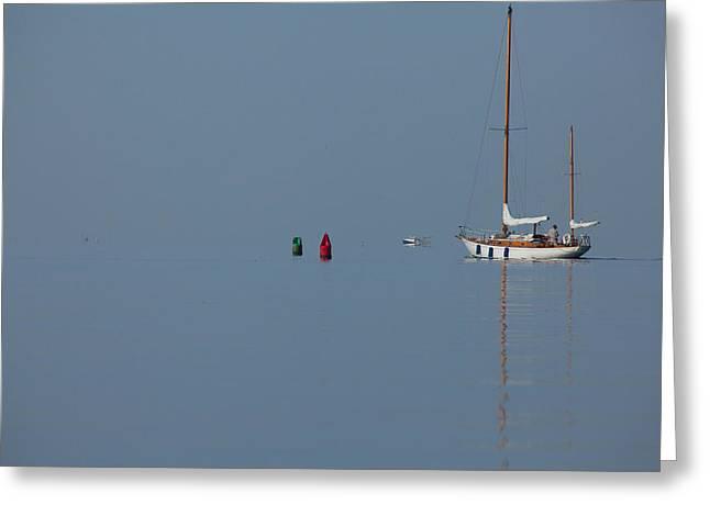 Motoring Sail Greeting Card by Karol Livote