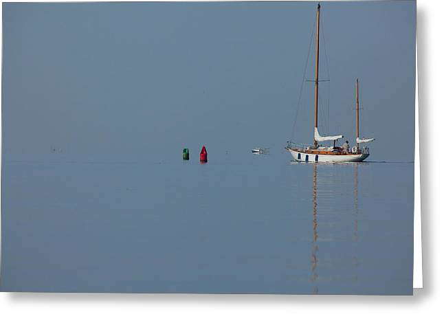 Blue Sailboats Greeting Cards - Motoring Sail Greeting Card by Karol  Livote