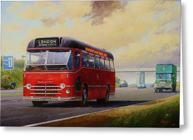 Historic England Paintings Greeting Cards - Motorway express 1959. Greeting Card by Mike  Jeffries