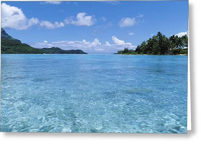 Boras Greeting Cards - Motu And Lagoon, Bora Bora, Society Greeting Card by Panoramic Images