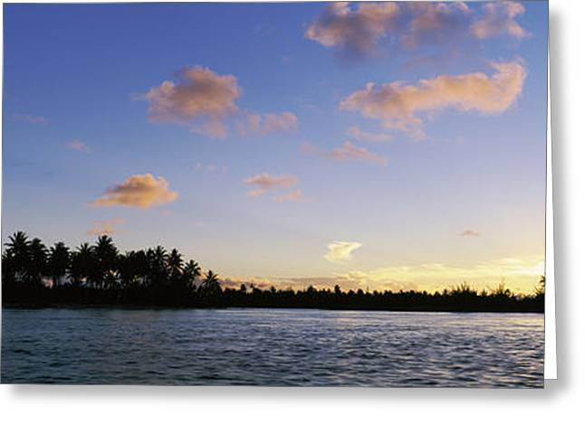 Ocean Photography Greeting Cards - Motus At Sunset, Bora Bora, Society Greeting Card by Panoramic Images