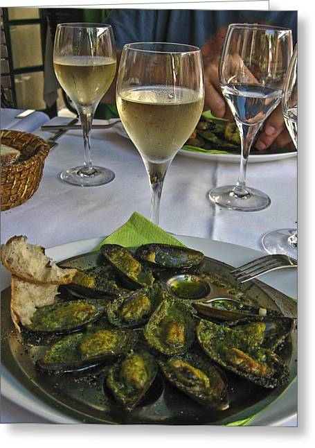 Wine Glass With Condensation Greeting Cards - Moules and Chardonnay Greeting Card by Allen Sheffield