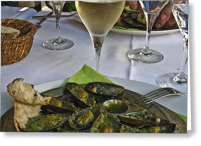 Moules and Chardonnay Greeting Card by Allen Sheffield