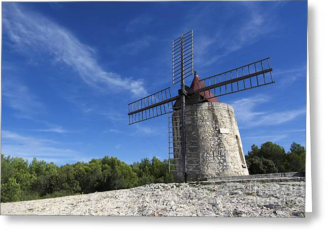 South Of France Photographs Greeting Cards - Moulin de Daudet.windmill of Alphonse Daudet. Provence. France Greeting Card by Bernard Jaubert
