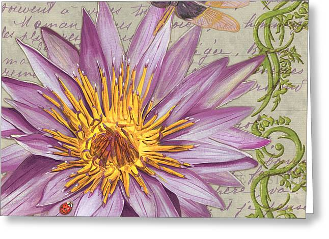 Dragonfly Greeting Cards - Moulin Floral 1 Greeting Card by Debbie DeWitt