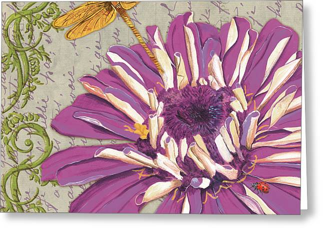 Dragonfly Greeting Cards - Moulin Floral 2 Greeting Card by Debbie DeWitt