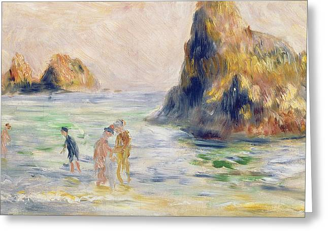 Bathers Greeting Cards - Moulin Huet Bay Guernsey Greeting Card by Pierre Auguste Renoir
