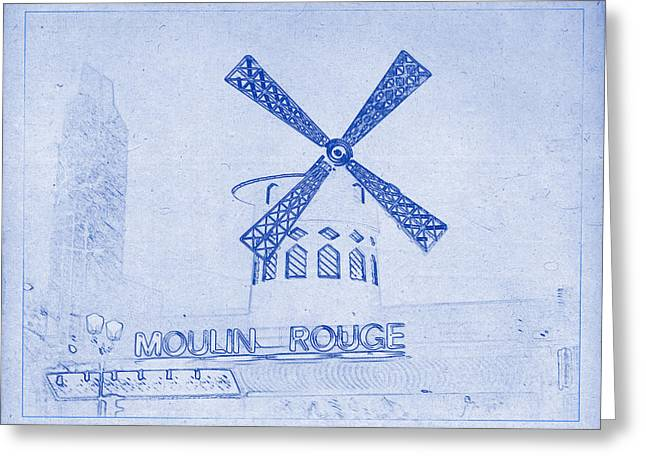 Raunchy Greeting Cards - Moulin Rouge Blueprint Greeting Card by Justin Woodhouse