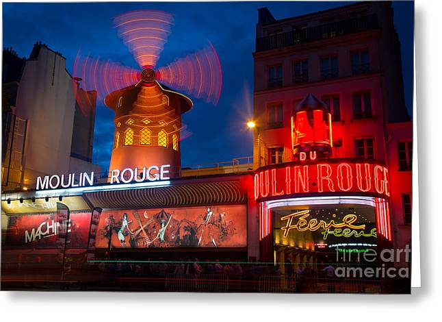 Belles Photographs Greeting Cards - Moulin Rouge en Soir Greeting Card by Inge Johnsson
