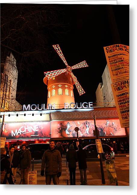 Brasserie Greeting Cards - Moulin Rouge - Paris France - 01131 Greeting Card by DC Photographer