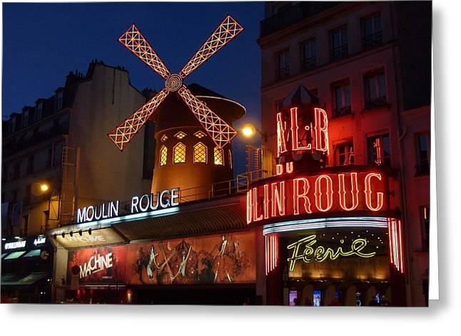 Vintage Art Greeting Cards - Moulin Rouge Paris France Greeting Card by Vintage Art