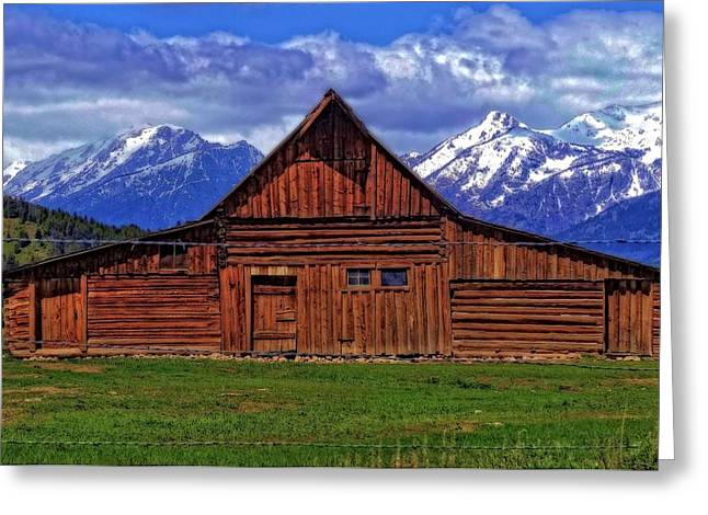 Mountain Cabin Greeting Cards - Moulton Barn In Spring Greeting Card by Dan Sproul