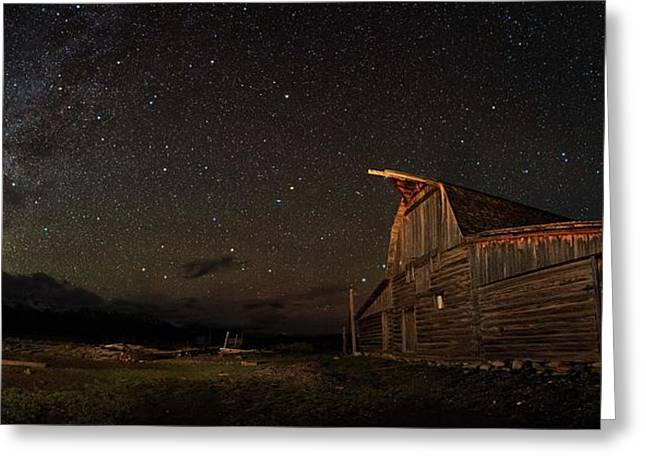 Night Photography Workshop Greeting Cards - Moulton Barn Milky Way Panorama Greeting Card by Mike Berenson