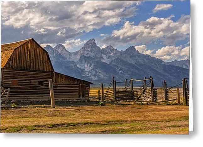 Mountain Landscape Greeting Cards - Moulton Barn Panorama - Grand Teton National Park Wyoming Greeting Card by Brian Harig