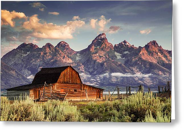 Snow Capped Greeting Cards - Moulton Morning on Mormon Row Greeting Card by Kirk Strickland