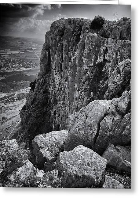 Sea Of Galilee Greeting Cards - Mount Arbel Greeting Card by Stephen Stookey