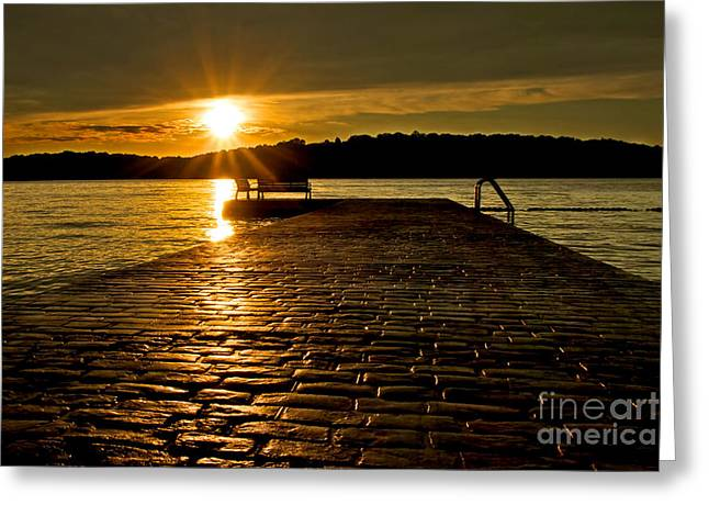 Stone Bench Greeting Cards - Mount Arlington Sunset Greeting Card by Mark Miller
