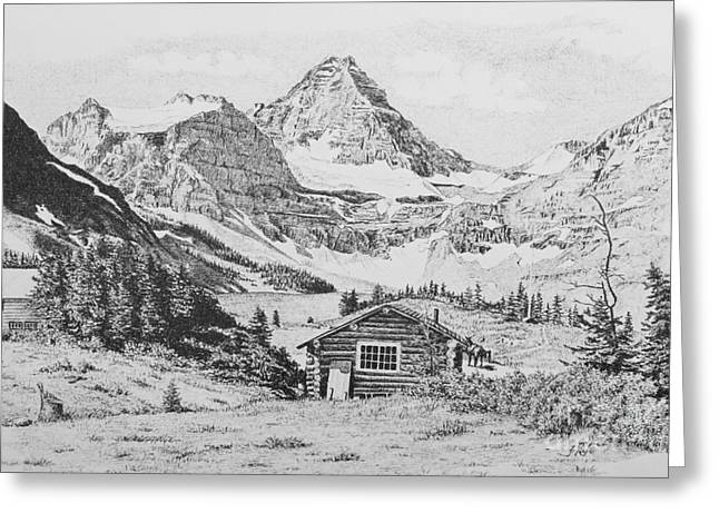 Mountain Cabin Drawings Greeting Cards - Mount Assiniboine Greeting Card by Frank Townsley