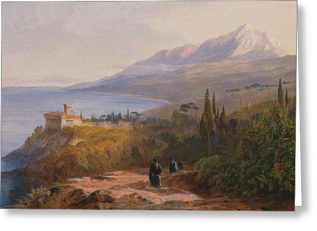 Edward Lear Greeting Cards - 	Mount Athos and the Monastery of Stavronikita Greeting Card by Edward Lear