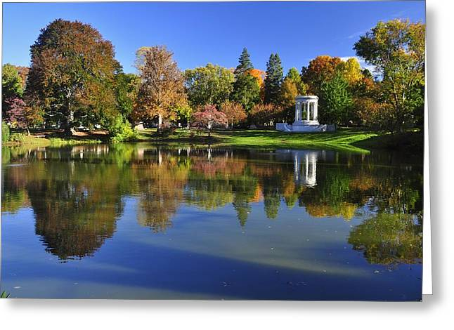 Auburn Ma Greeting Cards - Mount Auburn Reflection Greeting Card by Michael Dyer