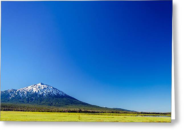 Mt Bachelor Greeting Cards - Mount Bachelor and Blue Sky Greeting Card by Jess Kraft