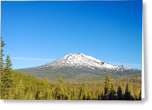 Mt Bachelor Greeting Cards - Mount Bachelor and Forest Greeting Card by Jess Kraft