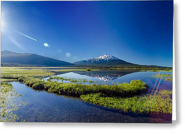 Mt Bachelor Greeting Cards - Mount Bachelor Lens Flare Greeting Card by Jess Kraft