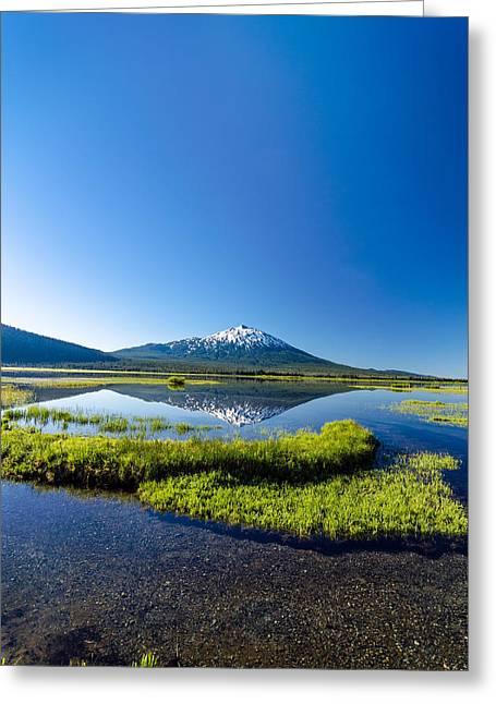 Mt Bachelor Greeting Cards - Mount Bachelor Vertical Reflection Greeting Card by Jess Kraft