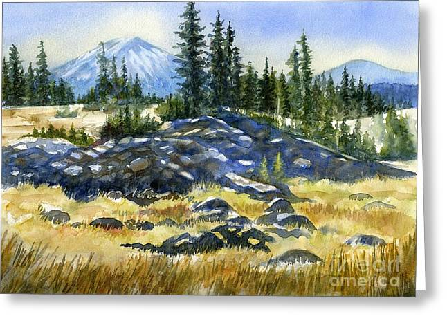 Hiking Paintings Greeting Cards - Mount Bachelor View Greeting Card by Sharon Freeman