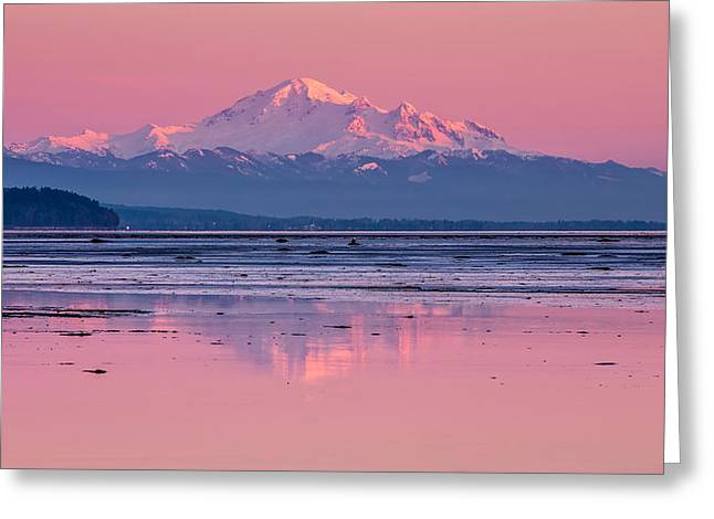 Boundary Waters Greeting Cards - Mount Baker at sunset from Boundary Bay Greeting Card by Pierre Leclerc Photography