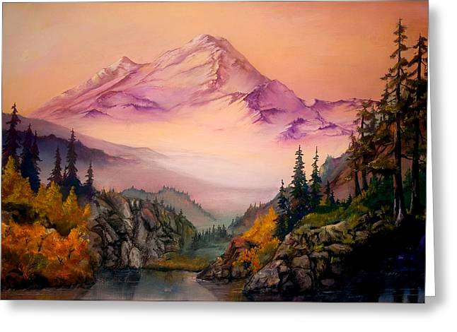 Pacific Northwest Mixed Media Greeting Cards - Mount Baker Morning Greeting Card by Sherry Shipley