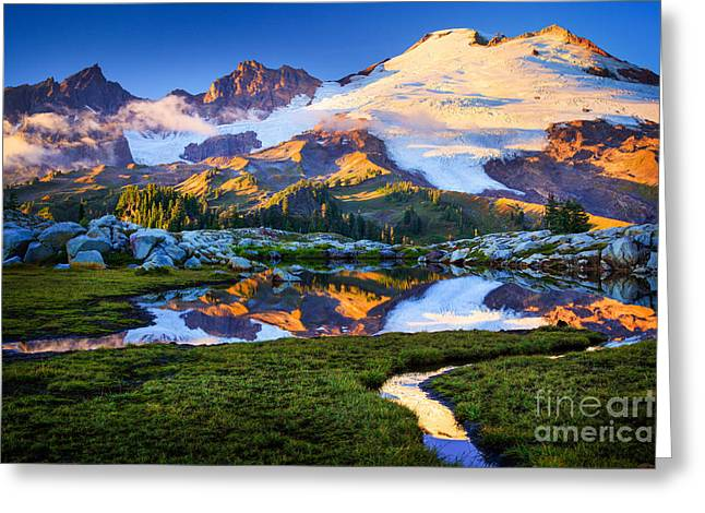 Summit Greeting Cards - Mount Baker Reflection Greeting Card by Inge Johnsson