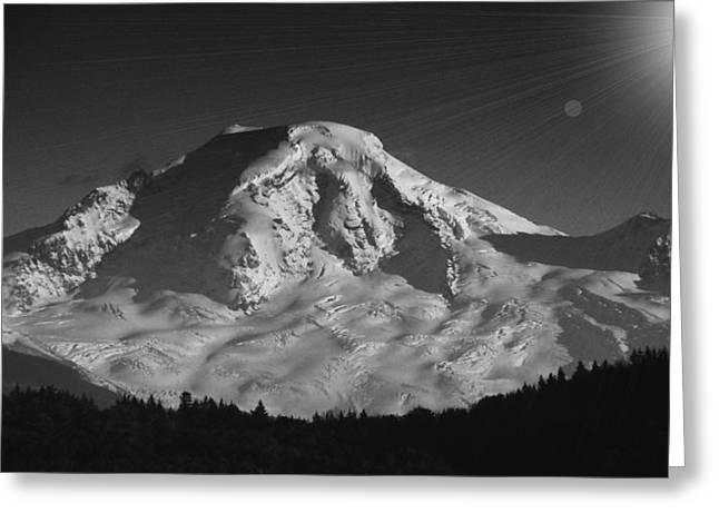 Ski Art Greeting Cards - Mount Baker Sun Burst Greeting Card by Brent Davis