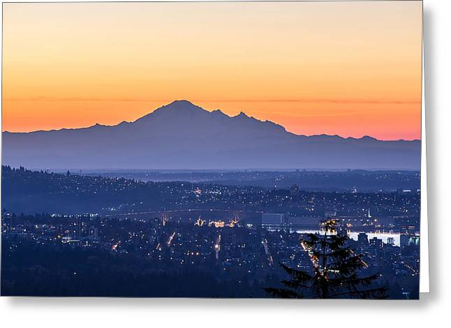 West Vancouver Greeting Cards - Mount Baker sunrise from West Vancouver Greeting Card by Pierre Leclerc Photography