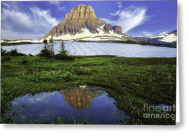 Mount Clements Reflections At Logan Pass Greeting Card by Thomas Schoeller