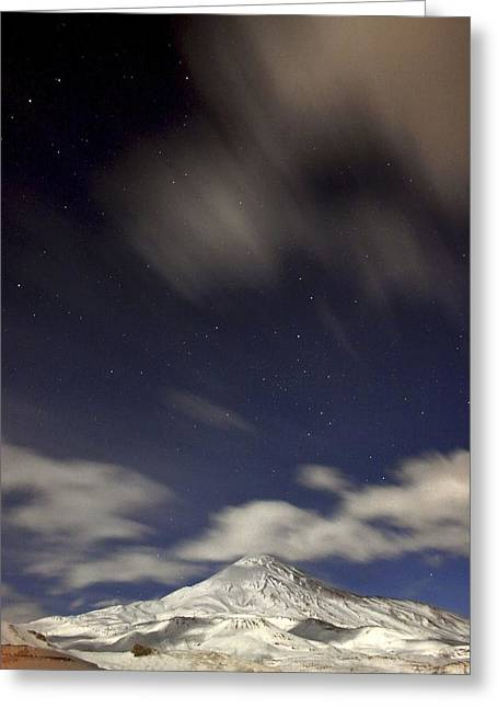 Snowy Night Night Greeting Cards - Mount Damavand at night Greeting Card by Science Photo Library
