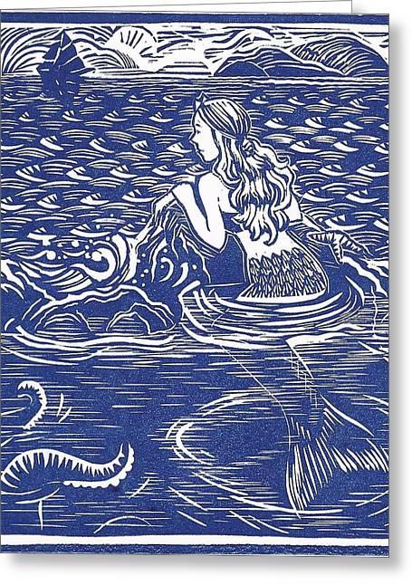 Linoleum Greeting Cards - Mount Dora Mermaid Greeting Card by Jennifer Harper