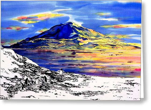 Blue Tapestries - Textiles Greeting Cards - Mount Erebus Antarctica Greeting Card by Carolyn Doe