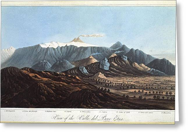 Principles Greeting Cards - Mount Etna, 19th century Greeting Card by Science Photo Library