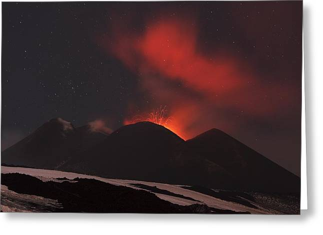 March 2012 Greeting Cards - Mount Etna erupting at night, 2012 Greeting Card by Science Photo Library