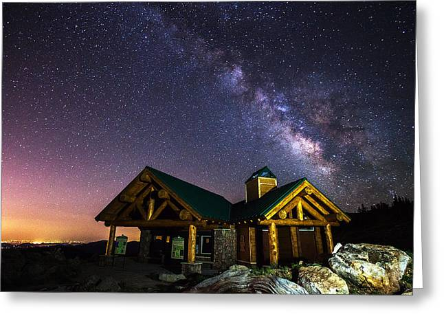 Milky Way Photographs Greeting Cards - Mount Evans Visitor Cabin Greeting Card by Darren  White