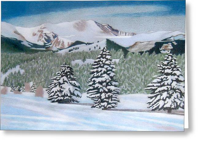 Snow Drifts Drawings Greeting Cards - Mount Evans Winter Greeting Card by Dan Miller