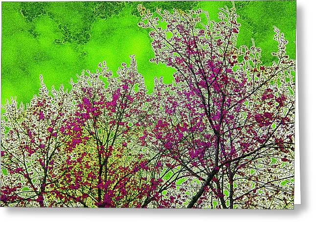 Cherry Blossoms Mixed Media Greeting Cards - Mount Fuji In Bloom Greeting Card by Pepita Selles