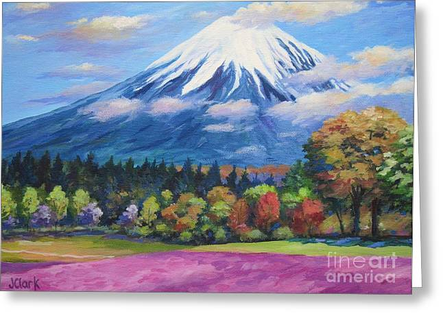 Phlox Greeting Cards - Mount Fuji Shibazakura Greeting Card by John Clark