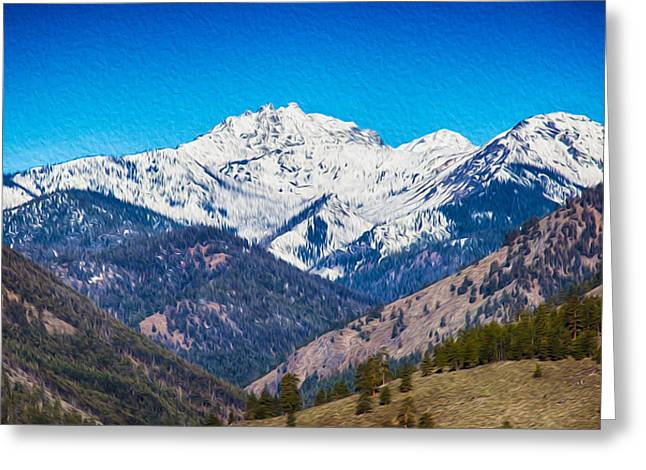 Pateros Greeting Cards - Mount Gardner Close Up Greeting Card by Omaste Witkowski
