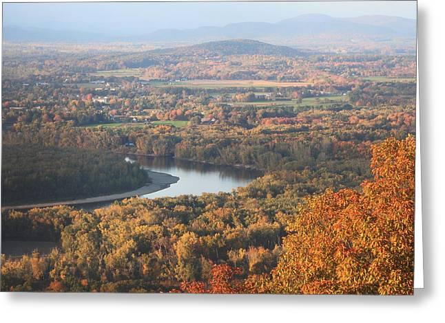Holyoke Range Greeting Cards - Mount Holyoke Connecticut River Fall Foliage Greeting Card by John Burk